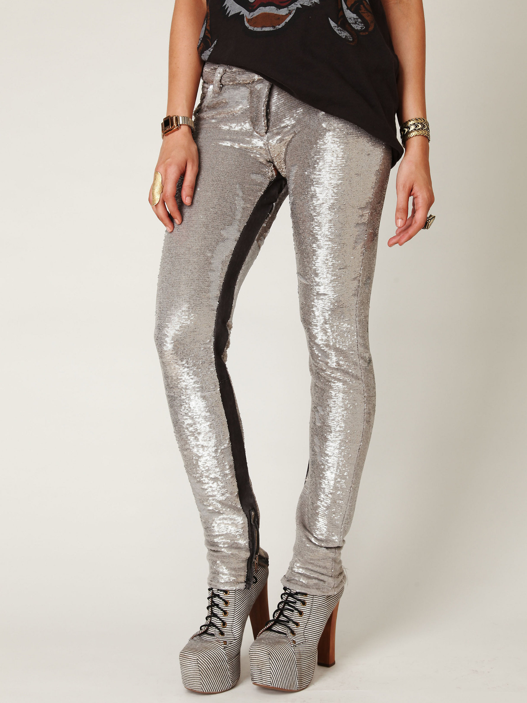 IRO Distressed Sequin Pants at Free People Clothing Boutique