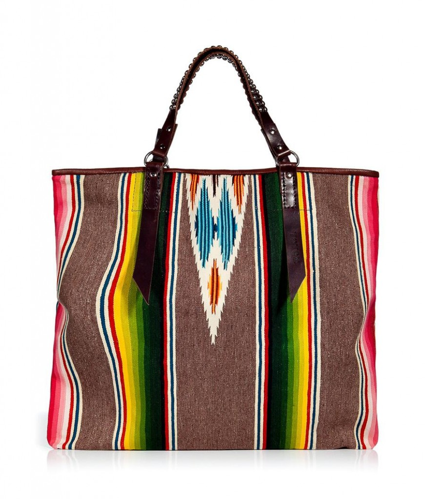 Multicolor vintage tote with studded handles by Totem