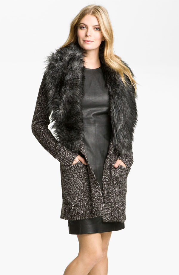 Long Cardigan With Detachable Faux Fur Collar by Michael Kors