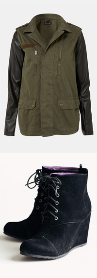 Topshop Faux Leather Sleeve Army Jacket & India Wedges by Blowfish