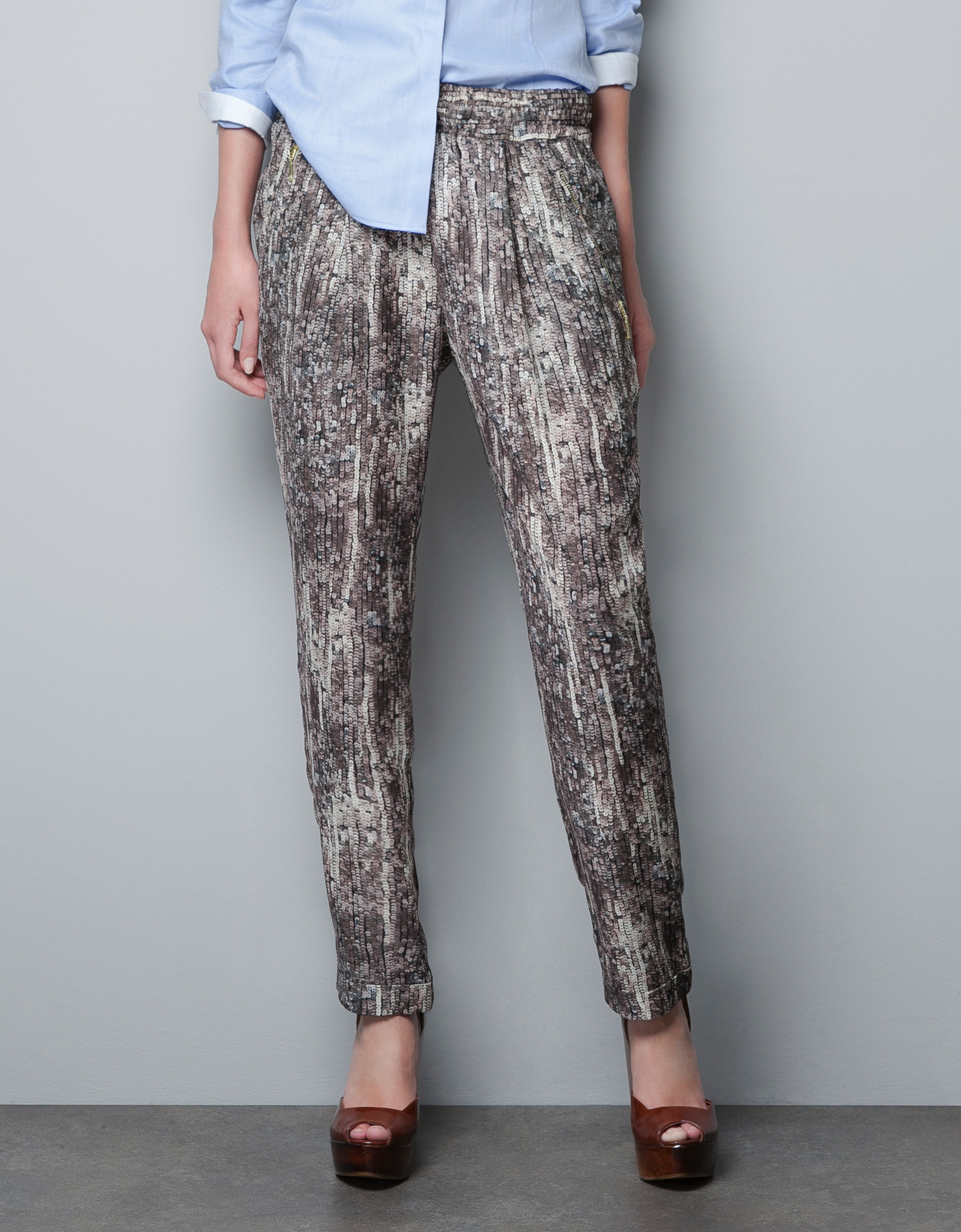 Sequin Print Pants by Zara