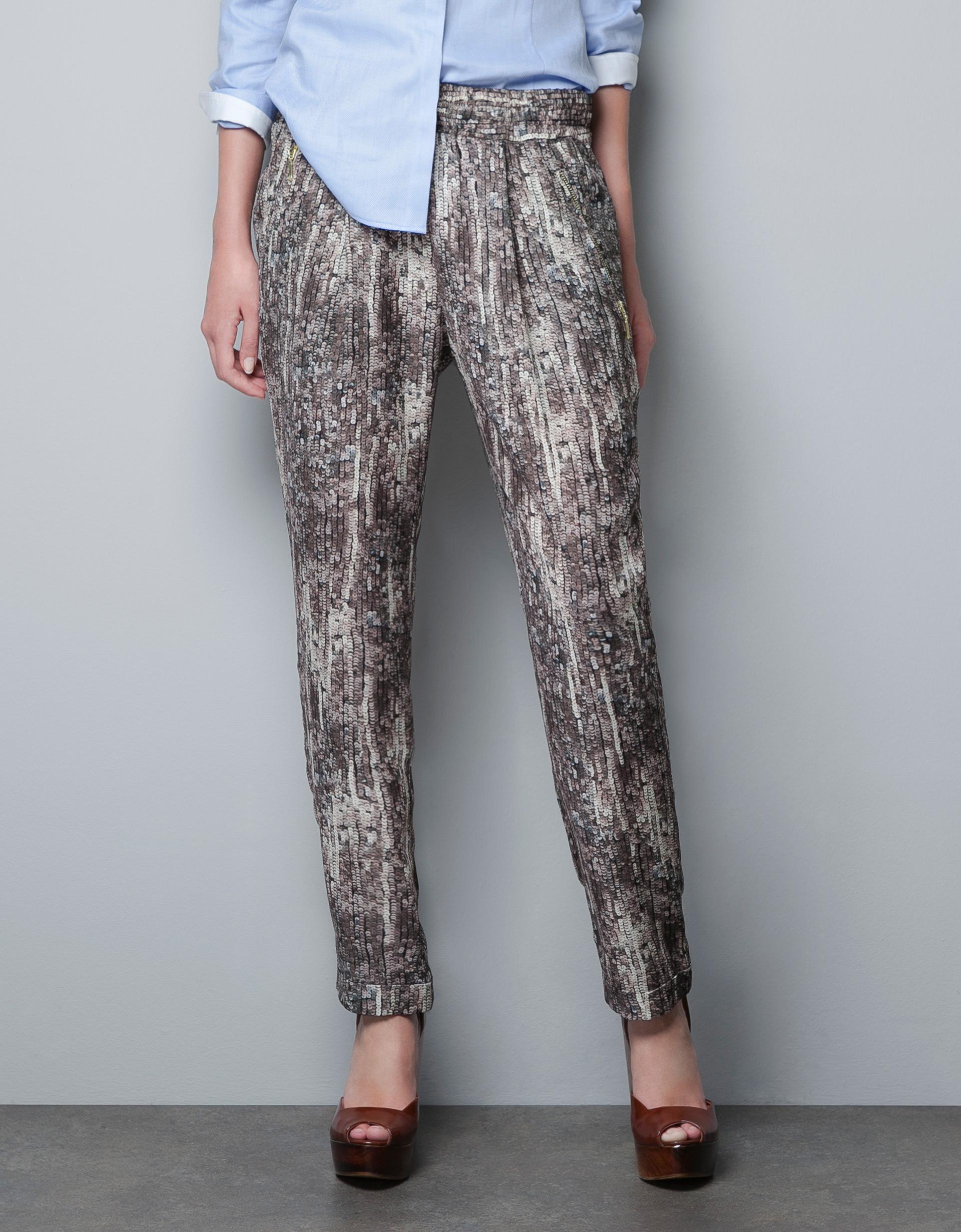 Sequin Print Pants by Zara