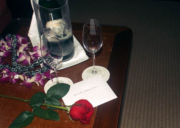 Surprise champagne for the honeymooners