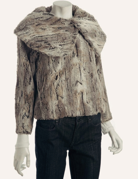 Faux Fur Oversize Collar Jacket by CeCe