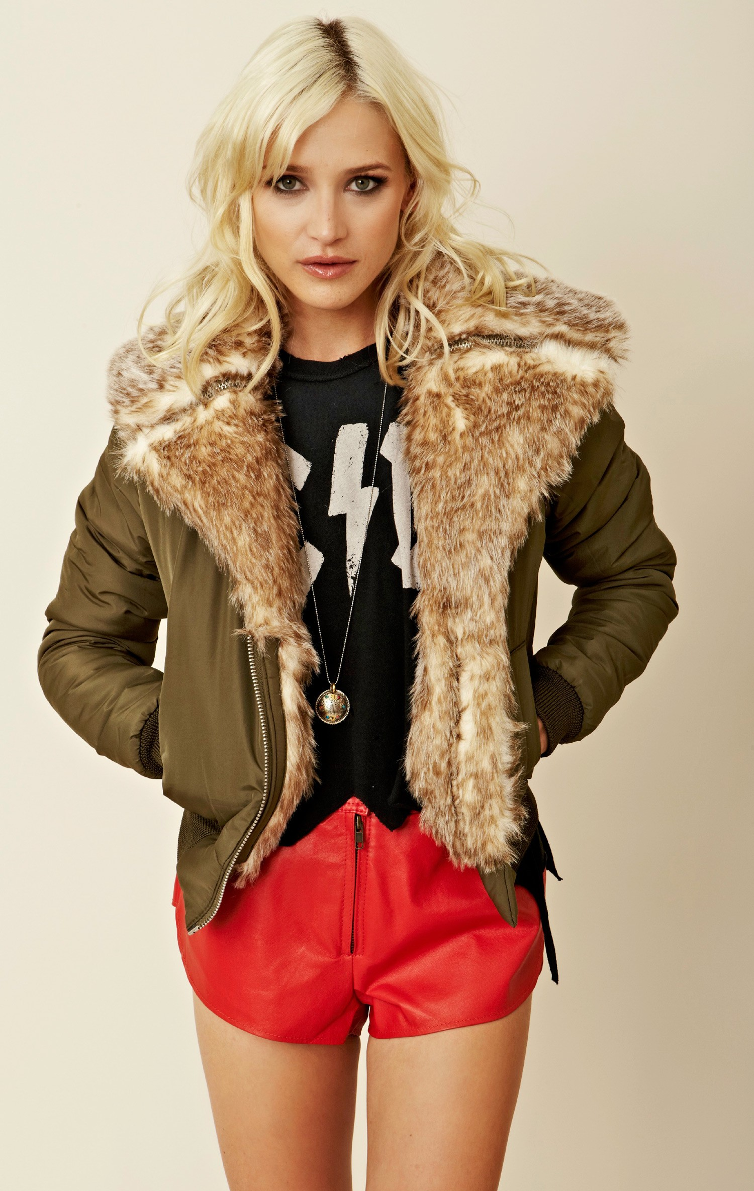 UNIF Faux Fur Collar Aviator Jacket