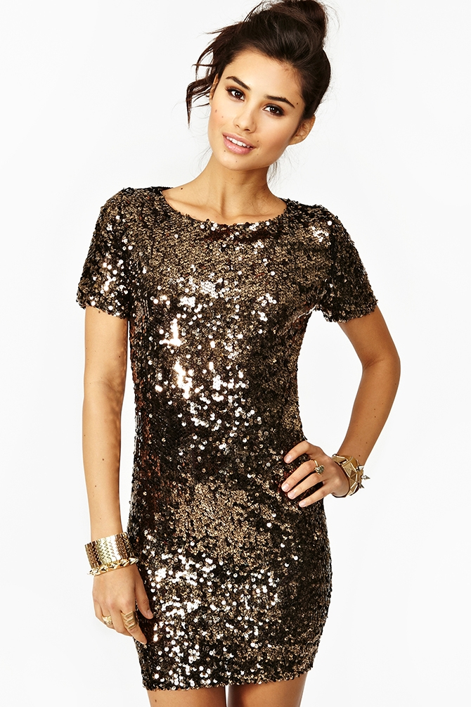 Solid Gold Sequin Dress from Nasty Gal