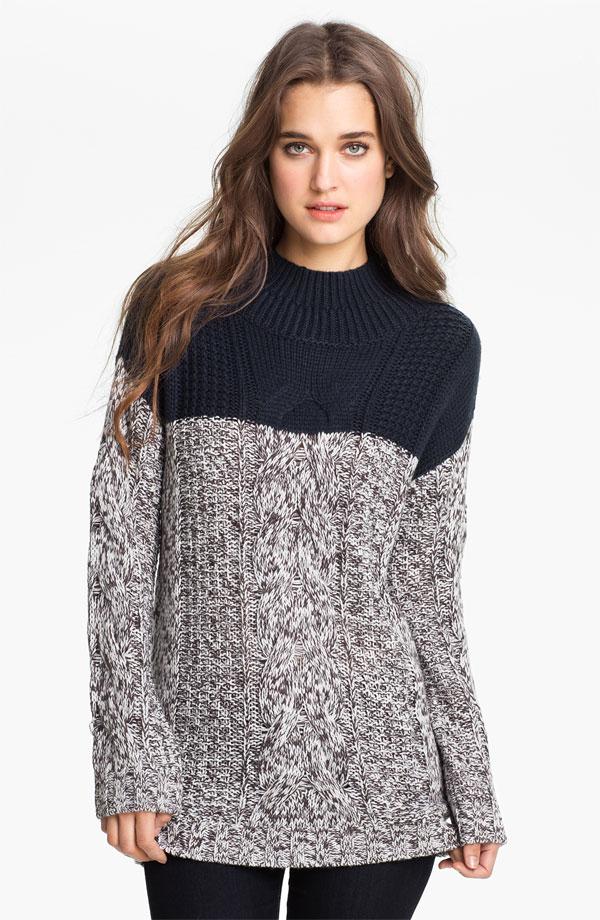 Trouvé Colorblock Cable Sweater