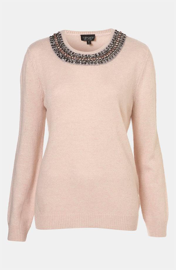 Topshop Rhinestone Trim Sweater