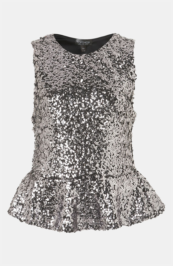 Sequin Peplum Top by Topshop