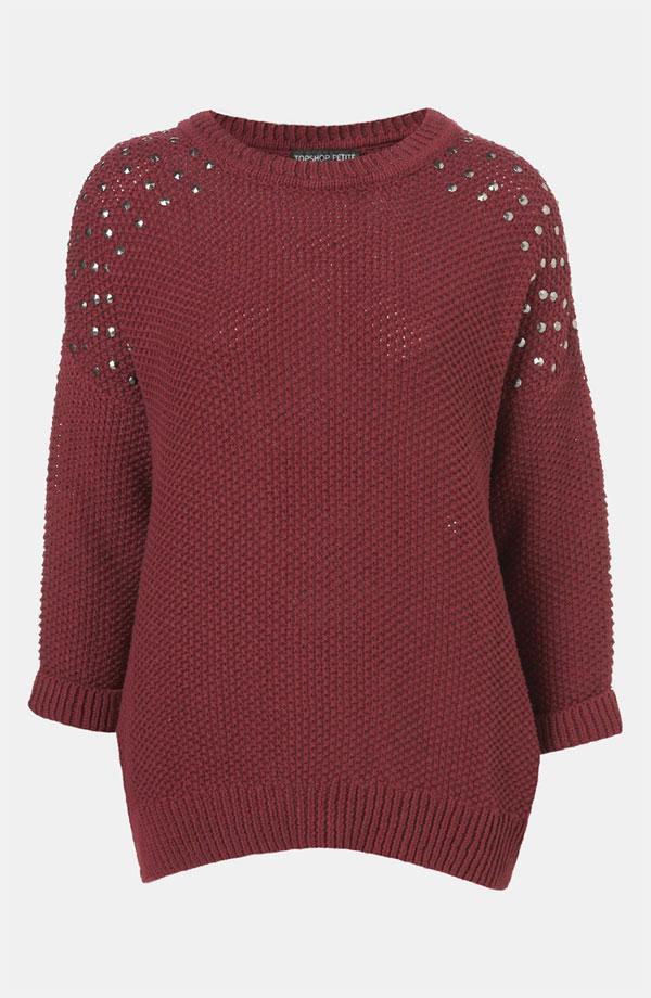 Topshop Studded Shoulder Sweater