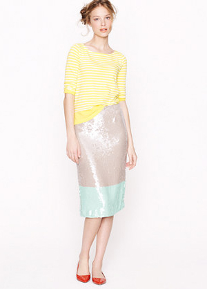 Pencil Skirt in Colorblock Sequin by J. Crew