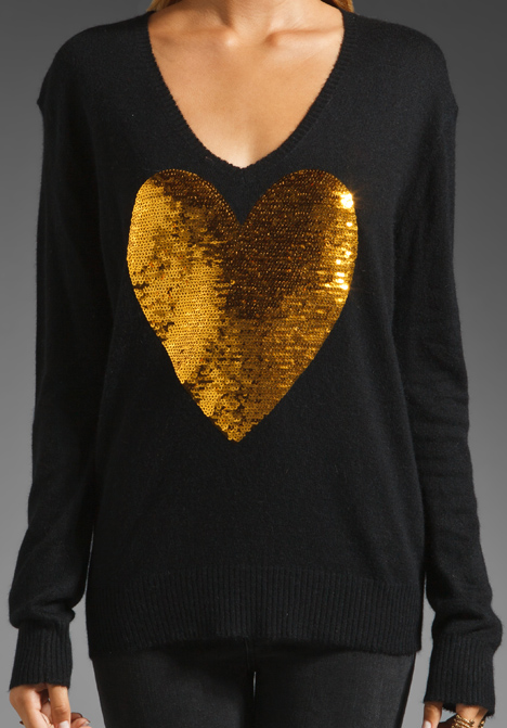 White Label Sequin Heart Sweater by Wildfox Couture