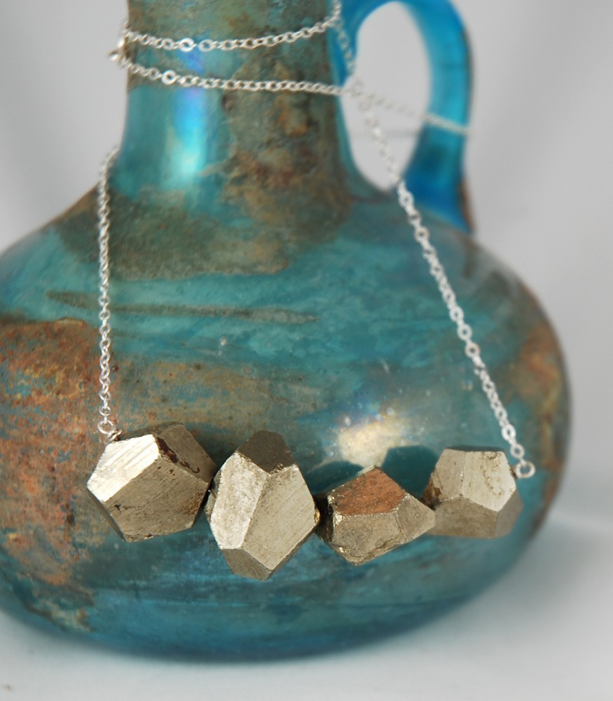 Pyrite Chunk Polyhedron Necklace by Ball and Chain Jewelry