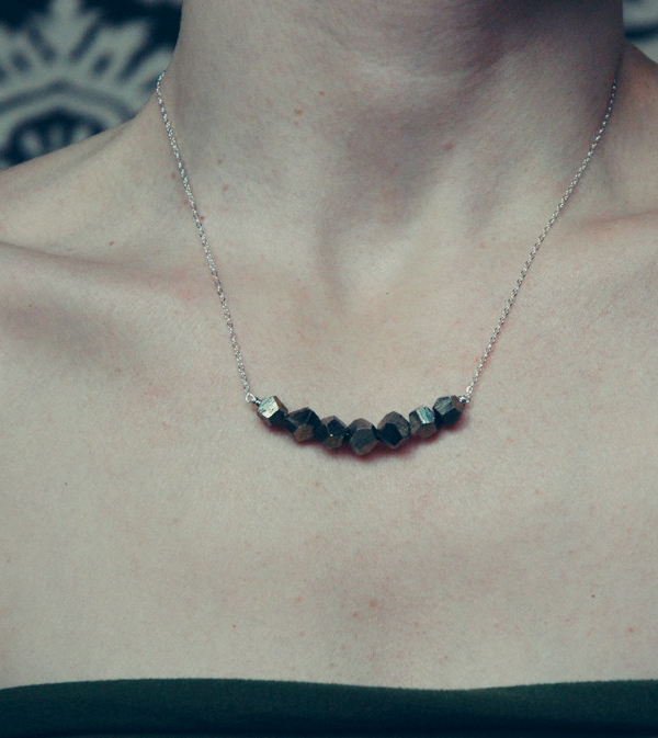 pyrite LUCKY SEVEN polyhedron necklace by Ball and Chain Jewelry