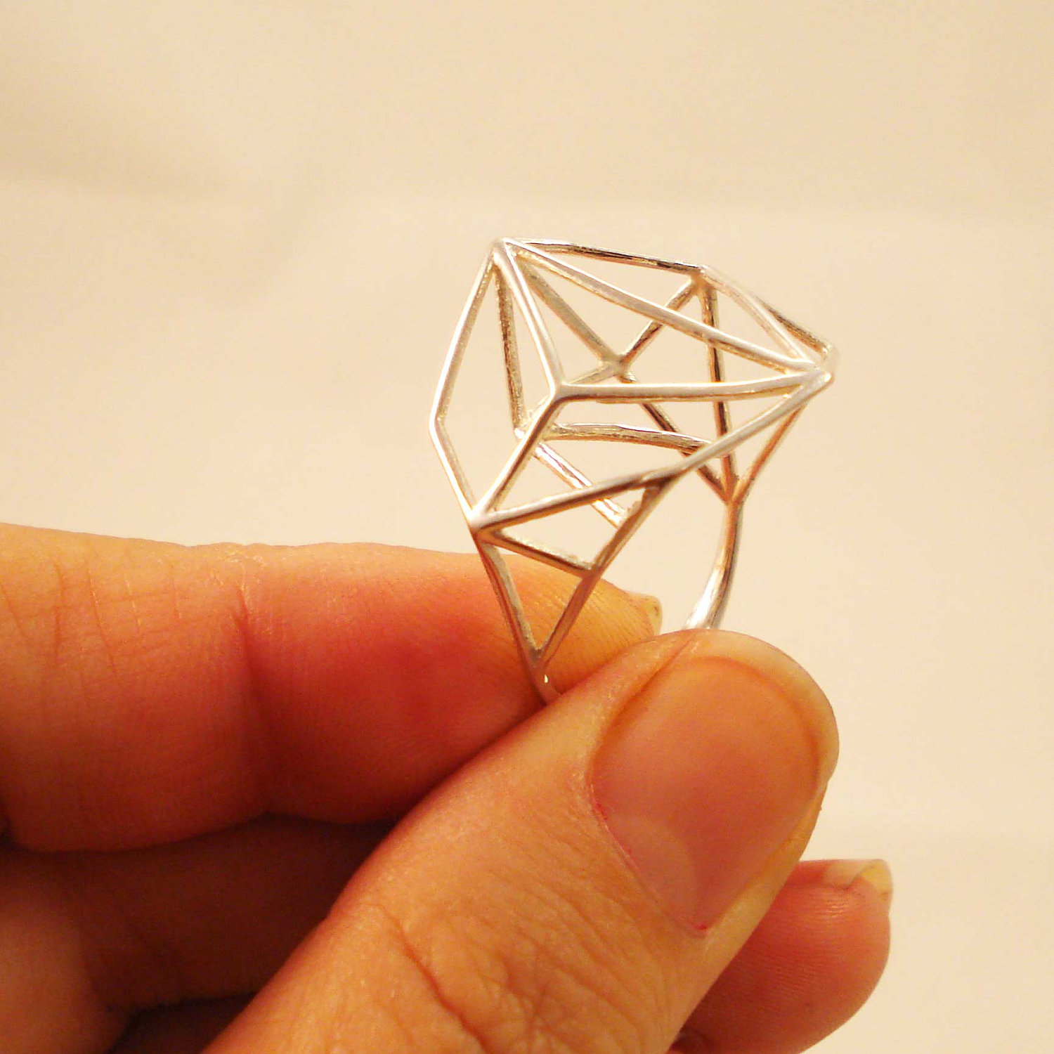 Architectural Structure Sterling Silver Ring by Osnat Har-Noy
