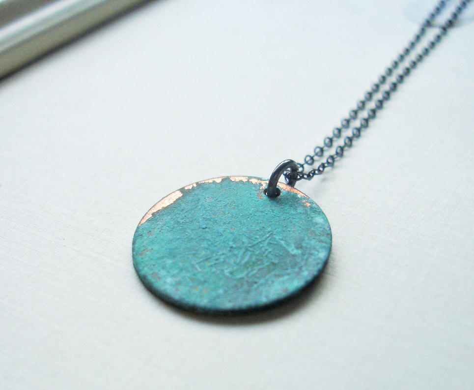 Mossy Spring Verdigris Disc Necklace by Elisa Shere Jewelry