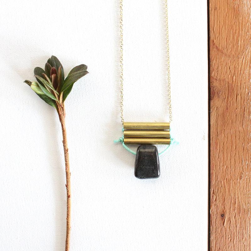 Tribal Porcelain & Brass Tube Pendant by Soft Gold Studio