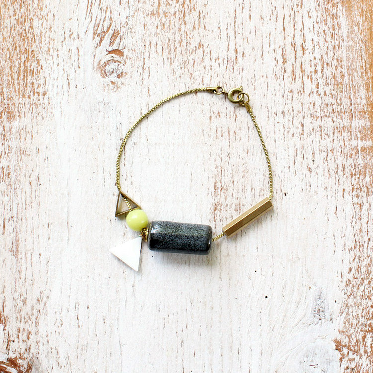 Chartreuse Grey Chain & Charm Bracelet by Soft Gold Studio