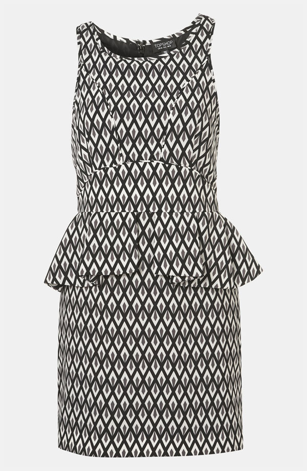 Topshop Geo Print Peplum Dress