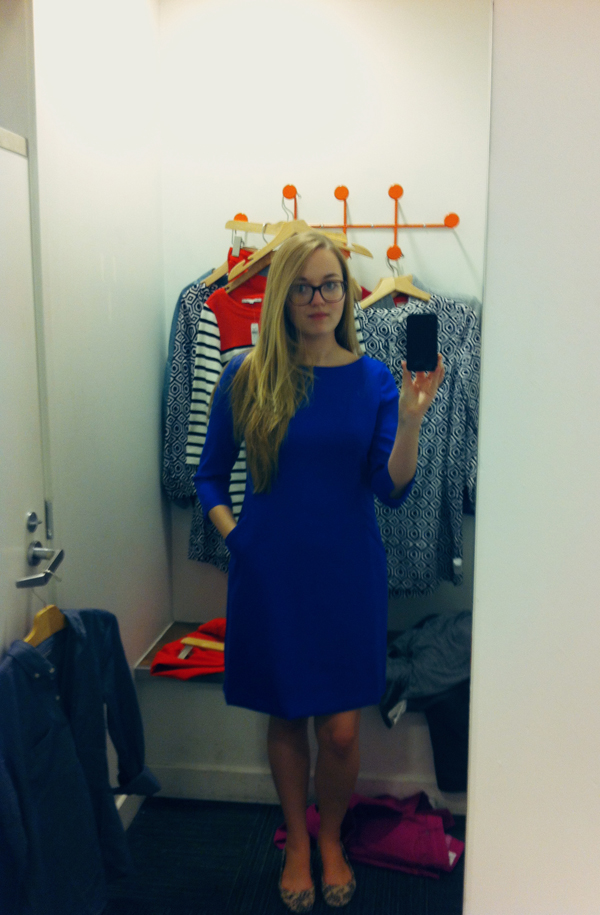 Trying on a Gap sheath dress