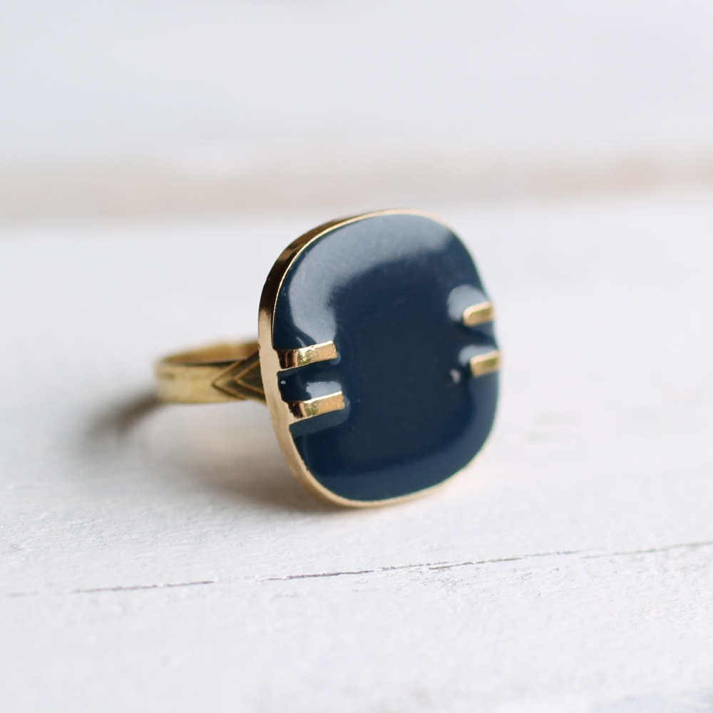 Vintage French Navy Modernist ring from Silk Purse, Sow's Ear