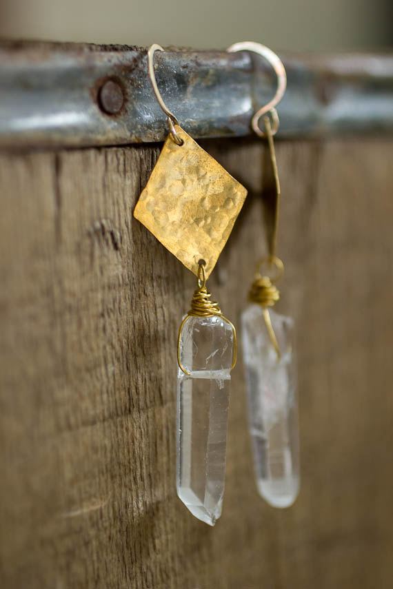 Geometric Gold and White Crystal Earrings by Roots & Wings