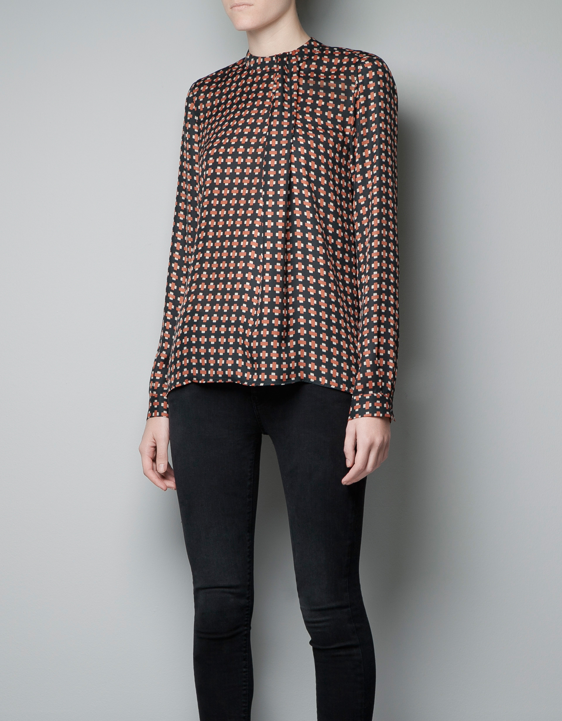 High Collar Printed Top by Zara