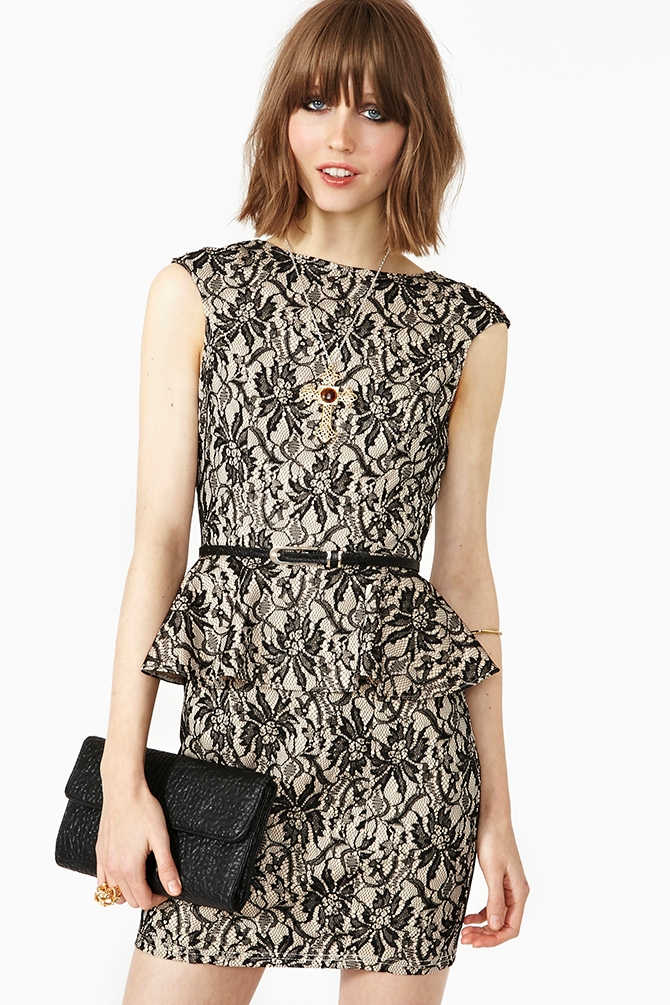 Black Bloom Peplum Dress from Nasty Gal
