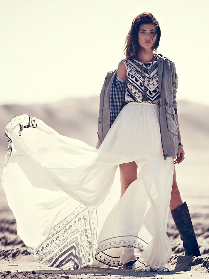 Beaded Silk Chiffon Gown by Mara Hoffman