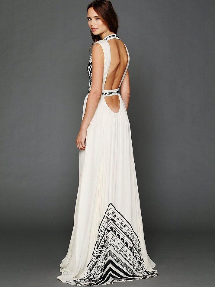 Beaded Silk Chiffon Gown by Mara Hoffman