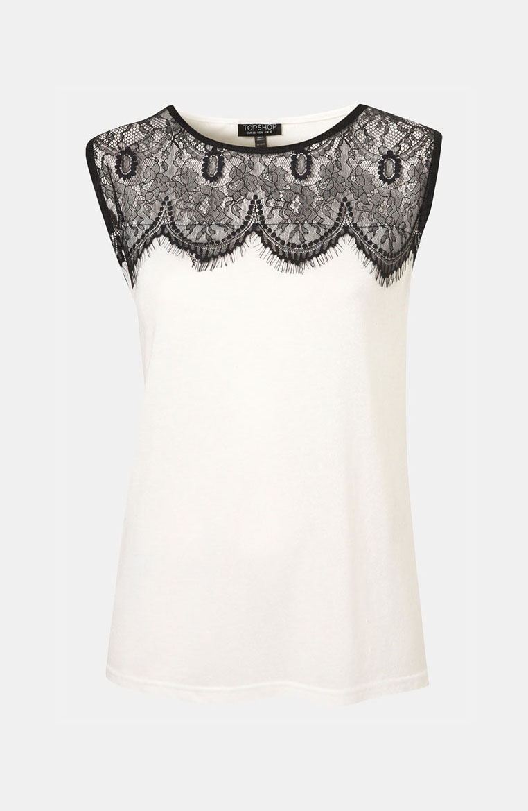 Lace Yoke Tank by Topshop