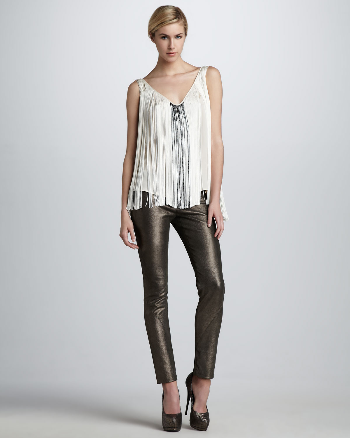 Fringe and Bugle Tank by Haute Hippie